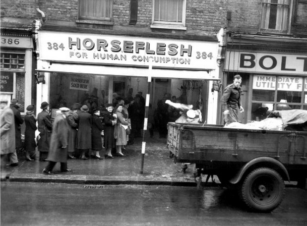 Queueing for horsemeat on Coldharbour in Brixton at the Horse Flesh shop