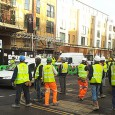 This was the scene outside the ghastly Brixton Square gated development on Coldharbour Lane yesterday morning, with all the workers out on the street.