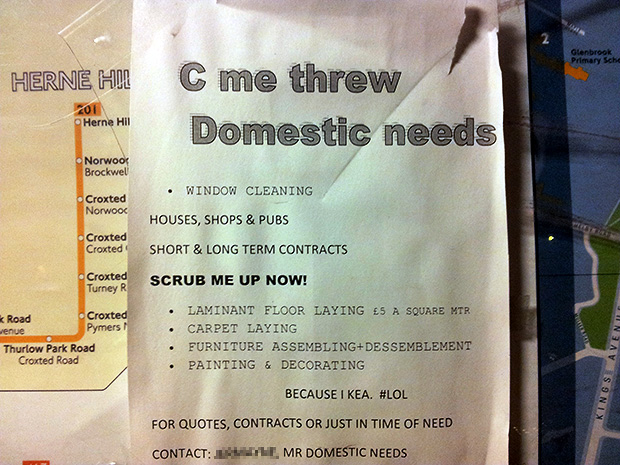 Brixton handyman looks for work with unique poster