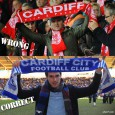 "Red scarf with the single word 'Cardiff,' backed by a stray Powerpoint motivational 'Fire & Passion' statement and a Red Dragon club emblem = wrong. Blue scarf with the words, ""Cardiff City Football Club,"" plus..."