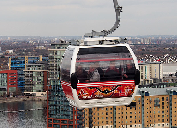 A trip on the Emirates Air Line cable car from North Greenwich and the Royal Docks, London