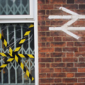 Pic of the day: Otford Station - broken window, hazard tape and BR symbol