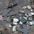 Growingsteadily since some time around 2009, this pile of broken skateboards can be found facing thedownstream pedestrian crossing on Hungerford Bridge.