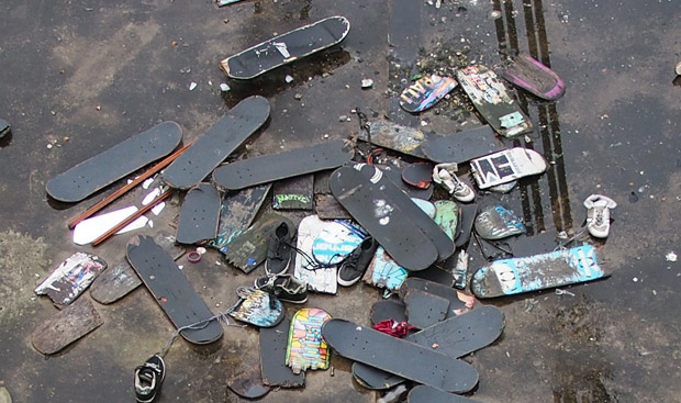 The Skateboard Graveyard of Hungerford Bridge continues to grow