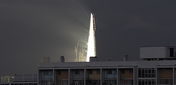 Dramatic sunbursts light up the London Shard skyscraper
