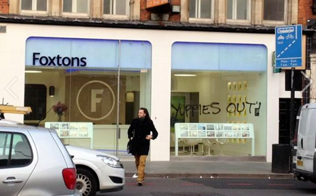 "Brixton Foxtons gets ""Yuppies Out"" and ""Yuck"" graffiti"