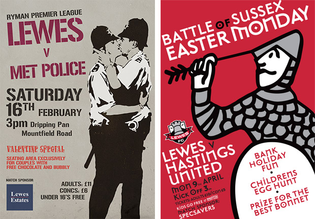 The wonderful posters of Lewes FC, a member-owned lower league team