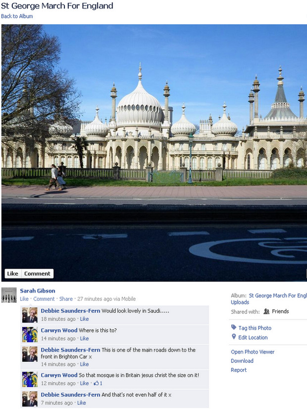 Brighton Pavilion described as a mosque by idiot racists
