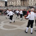 Trafalgar Square was a blur of waving hankies, stick rattling, sword entwining and jangling bells on Saturday as theWestminster Morris Men led their annual Day of Dance.