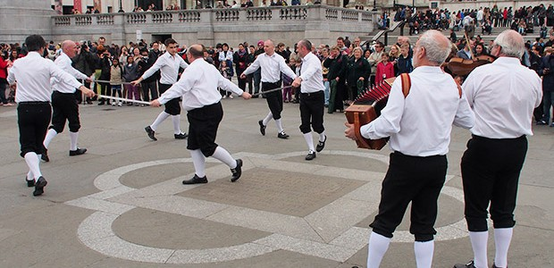 Trafalgar Square was a blur of waving hankies, stick rattling, sword entwining and jangling bells on Saturday as the Westminster Morris Men led their annual Day of Dance.