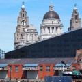 Applying the final touch to the controversial Mann Island development on Liverpool's waterfront