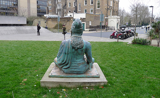 Sculpture of a meditating philosopher at SOAS, London