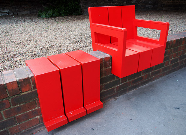 Aldgate Experiments and the bright red temporary wall seats, St ...