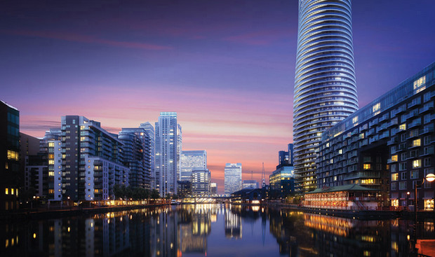 Work starts on the twisty 45-storey Baltimore Tower in Canary Wharf, London