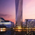 Work starts on the twisty 45-storey luxury Baltimore Tower in Canary Wharf, London