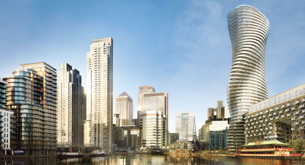 Work starts on the twisty Baltimore Tower in Canary Wharf, London