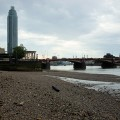 A walk along the Thames riverfront and beach by Vauxhall, south London