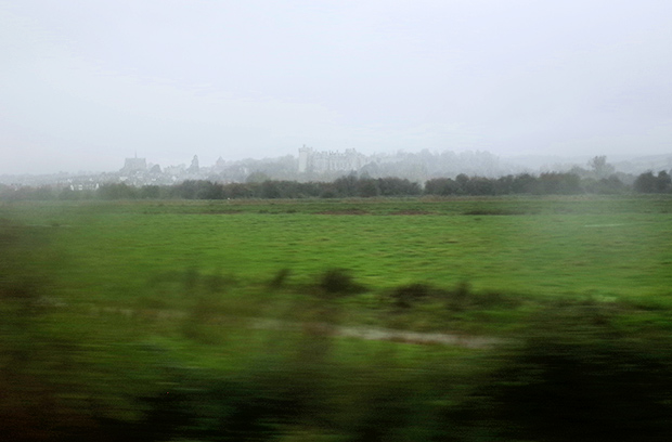 Rain on a train window, England