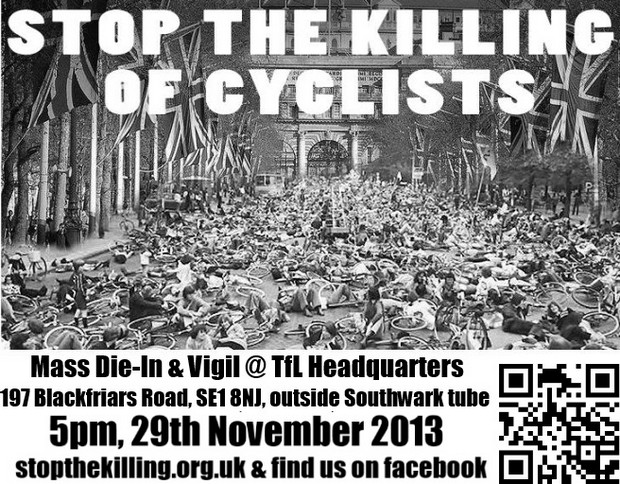 Stop The Killing Of Cyclists - Die-In and Vigil at TfL HQ in London, Friday 29th Nov