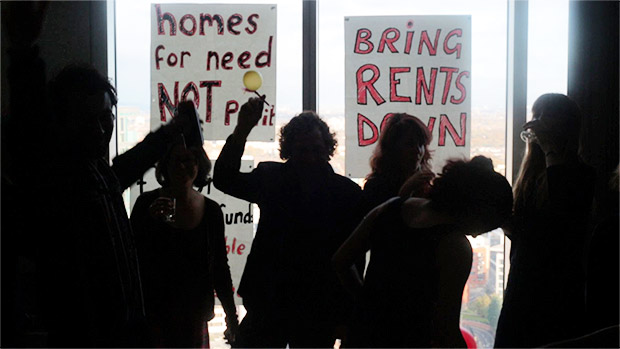 Renters occupy luxury flat in the Stratford Halo development, east London