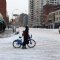 New Yorker on a Boris Bike battles the snowstorms down 1st Avenue