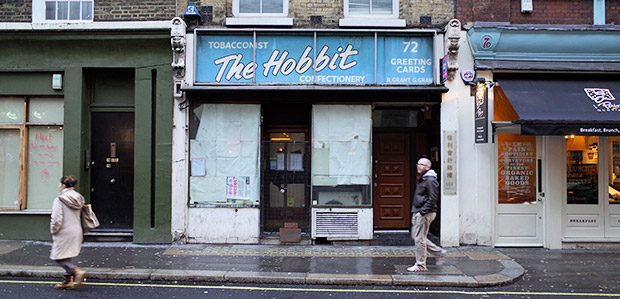 The Hobbit newsagent on Wardour Street reveals its 1970s frontage