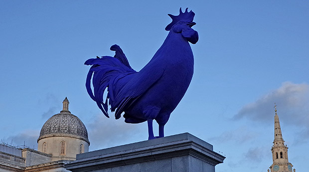 A giant blue cockerel in Trafalgar Square, London