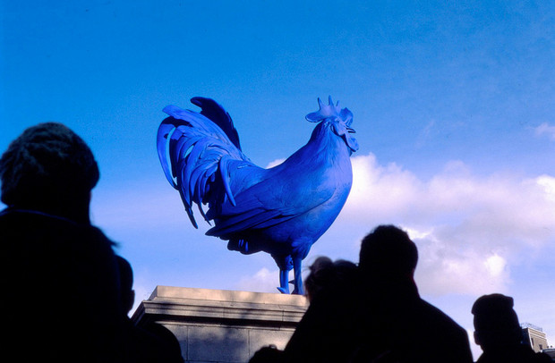 A giant blue cock on the Fourth Plinth in Trafalgar Square, London