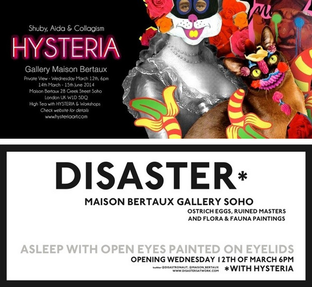 Hysteria & Disaster art show at Maison Bertaux, Soho, London