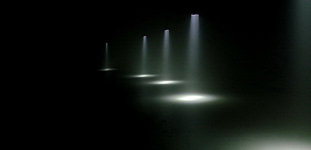 Swirling mist and strange shifting lights at Momentum at The Curve, Barbican, London