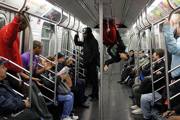New York City subway dancers on the J train