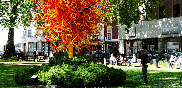 A symphony in glass: The Sun by Dale Chihuly in Mayfair's Berkeley Square.