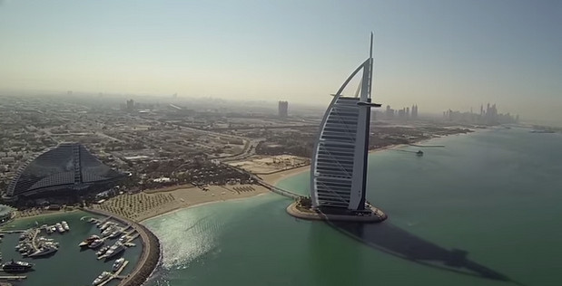 Video drone flies over the world's tallest building, the Burj Khalifa in Dubai