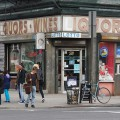 Shop fronts and street signs in Brooklyn and downtown Manhattan, New York