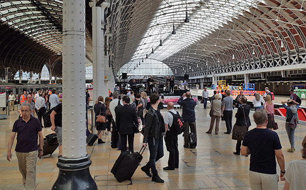 Paddington station passengers get blasted by rock band, announcements rendered inaudible