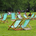 Gas lamps and deckchairs, Green Park, early summer