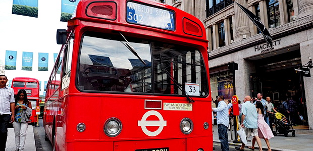 A wonderful cavalcade of London buses, old and new, line up along Regent Street