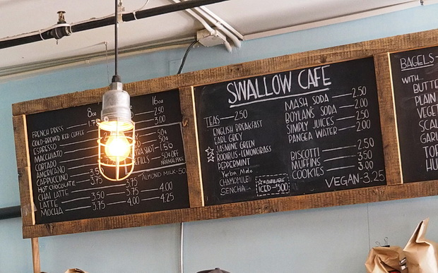 Swallow cafe in Brookyln serves up a tasty cream cheese bagel and coffee