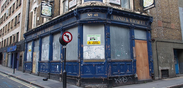 The Hand and Racquet pub in London disgracefully rots away, three years after the Free School was evicted.