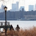 A walk along a deserted Hunter's Point South Park, Long Island City, New York,