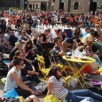 There were big crowds in Granary Square in Kings Cross watching the Wimbledon mens' tennis final yesterday afternoon.