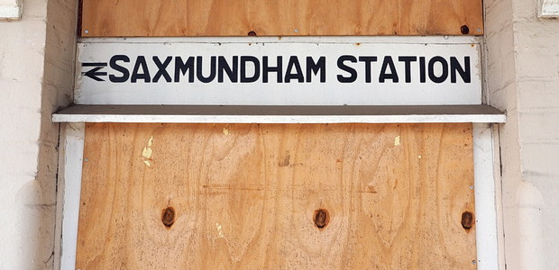 Photos of Saxmundham railway station and the closed Railway Pub, East Suffolk