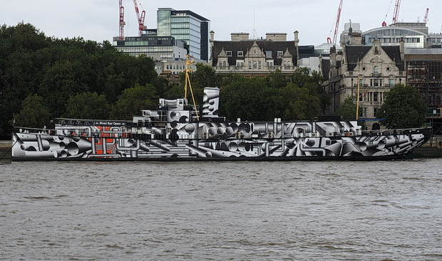 Dazzle Ship of London sees HMS President covered in dazzle camouflage