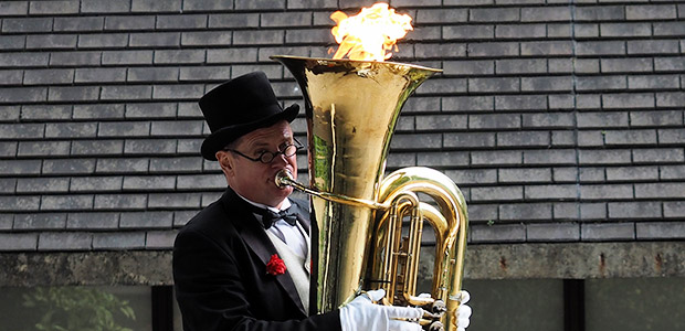 The incredible fire-breathing tuba on London's South Bank