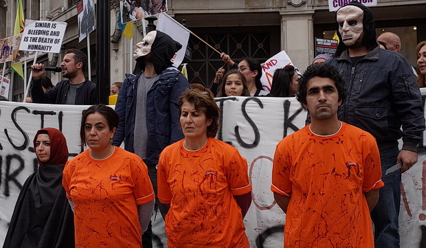 Kurdish activists protest against ISIS in Oxford Circus, London, Sat 27th Sept 2014