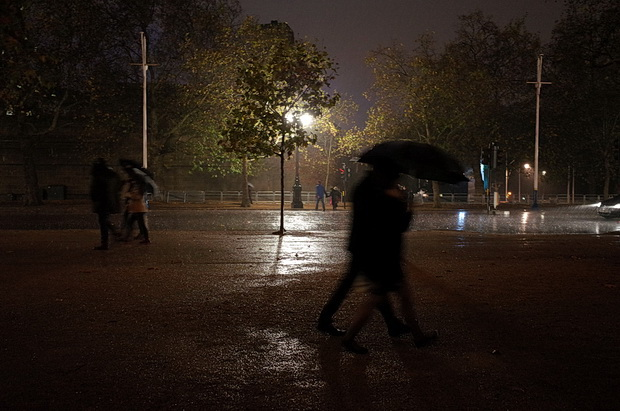 An autumnal park walk at dusk - Green Park and St James's in central London