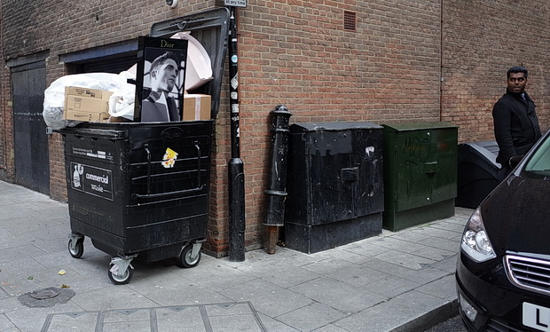 Photo of the day: Dior model in a dumpster, London