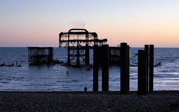 Brighton's derelict West Pier in the winter sun and storms - in photos