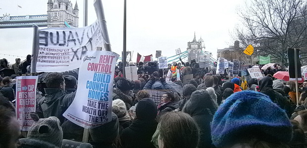Thousands of protesters assemble at City Hall for the March For Homes protest