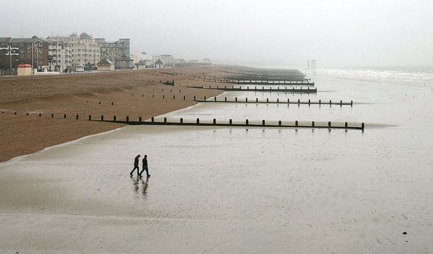 A grim afternoon on the pier and the seafront of rain-lashed Bognor Regis